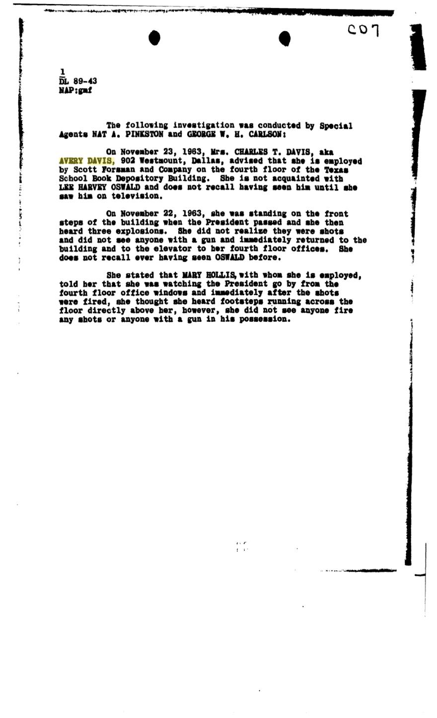 CD7 FBI Gemberling Report of 10 Dec 1963