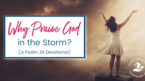 Why praise God in the storm? Discover how praising God helps you weather the storm in this devotional from Psalm 34. Learn to lift up your praise to God!