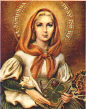Catholic devotional image of Saint Dymphna, the patron of those afflicted with mental and nervous disorders