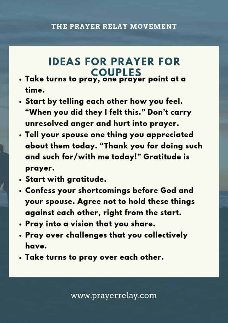 IDEAS FOR PRAYER FOR COUPLES