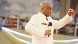 Bishop David Oyedepo ministering at Faith Tabernacle altar, Canaan Land Otta