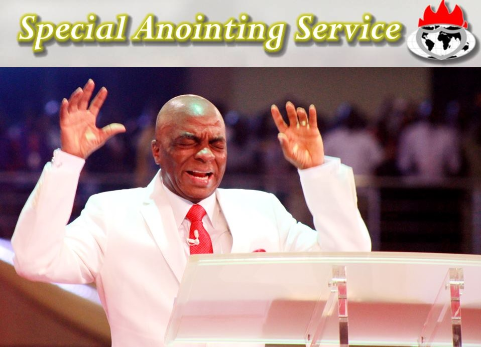 Bishop David Oyedepo ministering under the anointing