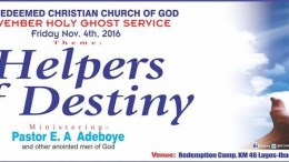 RCCG HOLY GHOST SERVICE NOVEMBER 2016 - HELPERS OF DESTINY