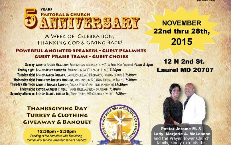 Confirmed Speakers Announced: Prayer Tower Church Five Year Pastoral and Church Anniversary!