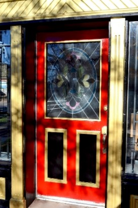 Red door stained glass FX12