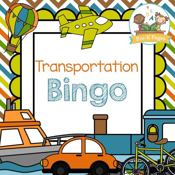 Transportation Bingo Pre K Pages