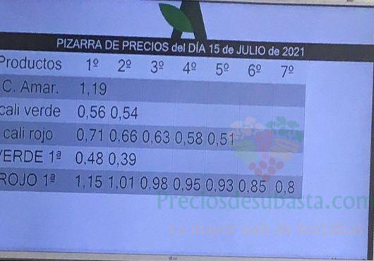 Subasta hortofrutícola Agrodolores El Mirador 15 de julio 2021