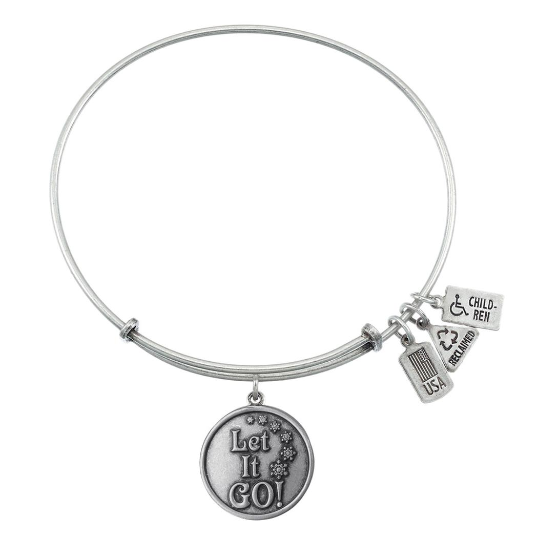 Wind Amp Fire Let It Go Silver Finish Charm Bangle Precious