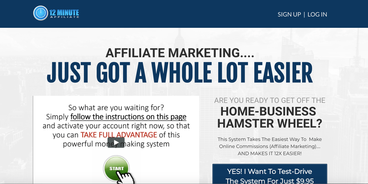 12 minute affiliate review sales page