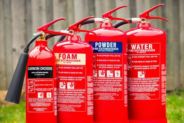 Fire extinguishers: Carbon dioxide, Foam, Powder and Water