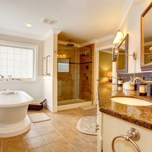 Glass door shower cabinet with granite top