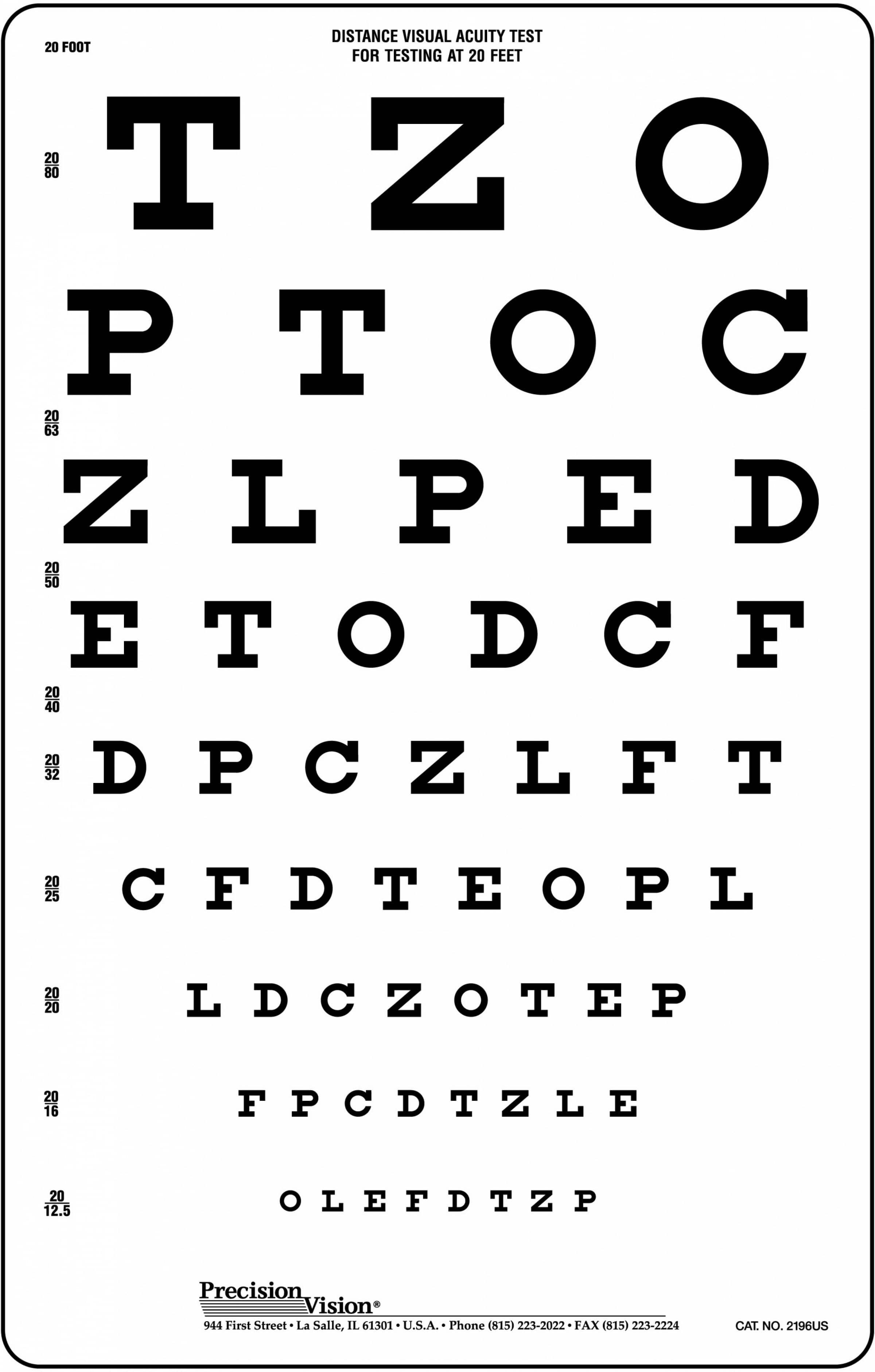 20 Foot Vision Testing Charts For School Nurses