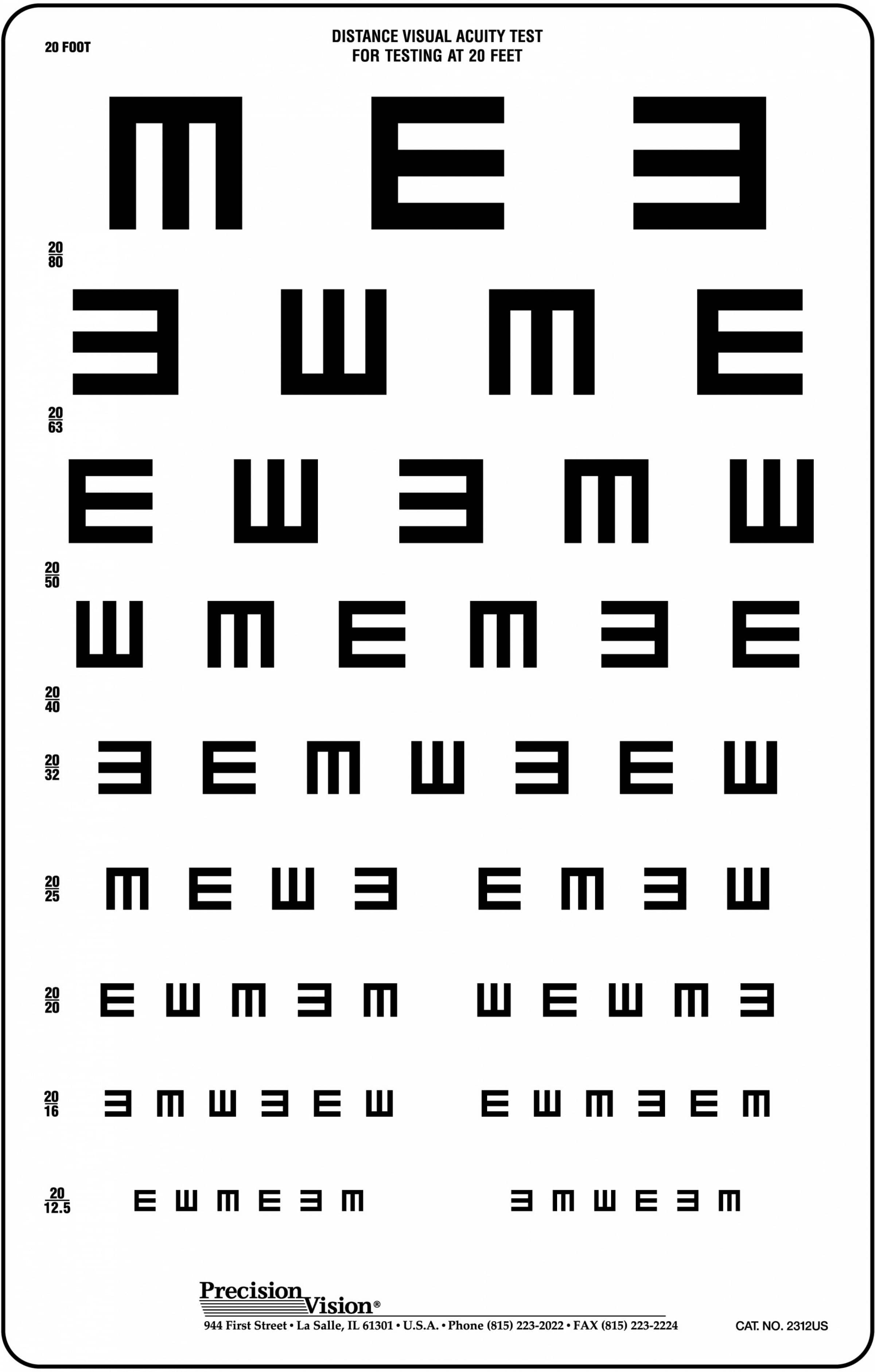 Translucent Tumbling E Vision Test Chart