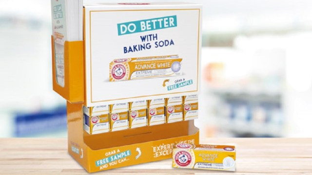 A Direct Mail sample box of Arm & Hammer toothpaste mailed to 1,000 target practices