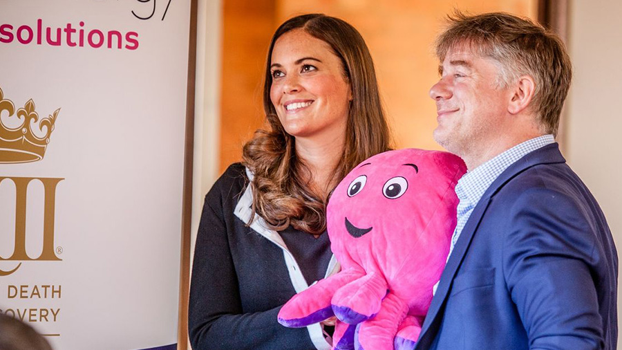 Octopus Energy Business Solutions director Zoisa Walton with founder and CEO Greg Jackson holding a fluffy Octopus toy