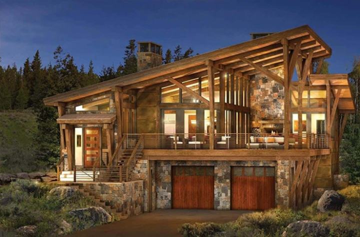 Modern Log and Timber Frame Homes and Plans   by PrecisionCraft Modern log and timber floor plan