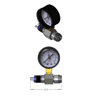 DCI 4-hole Inline Handpiece Pressure Test Gauge