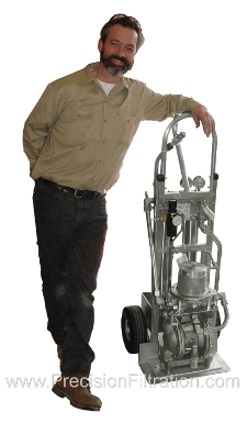 Pneumatic-Powered Portable Filter Cart for Hydraulic Fluid