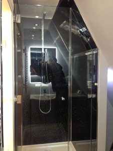 Shaped bespoke shower screen