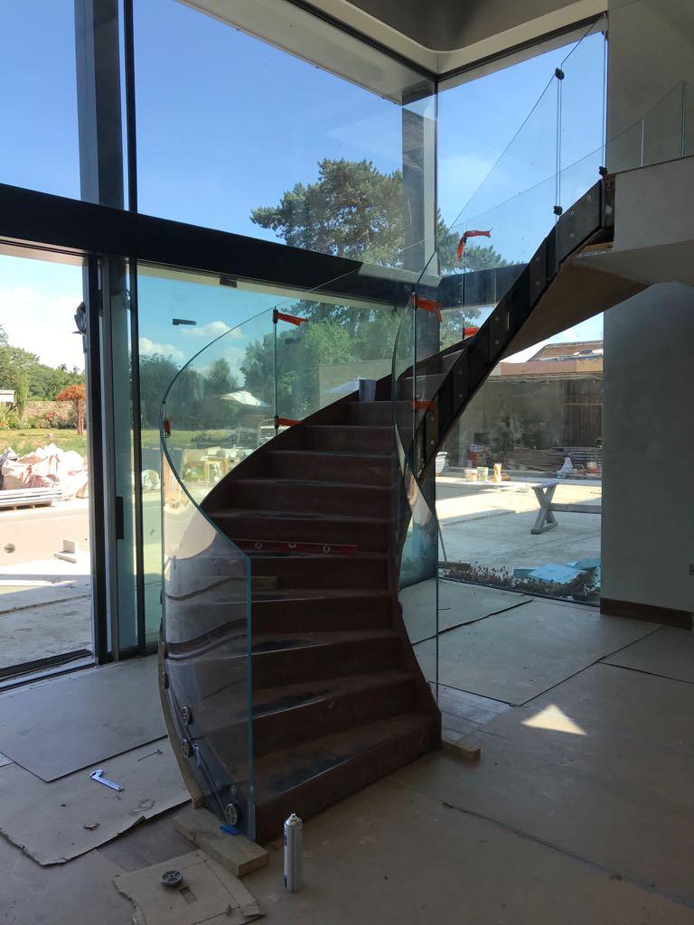 Curved balustrade in progress