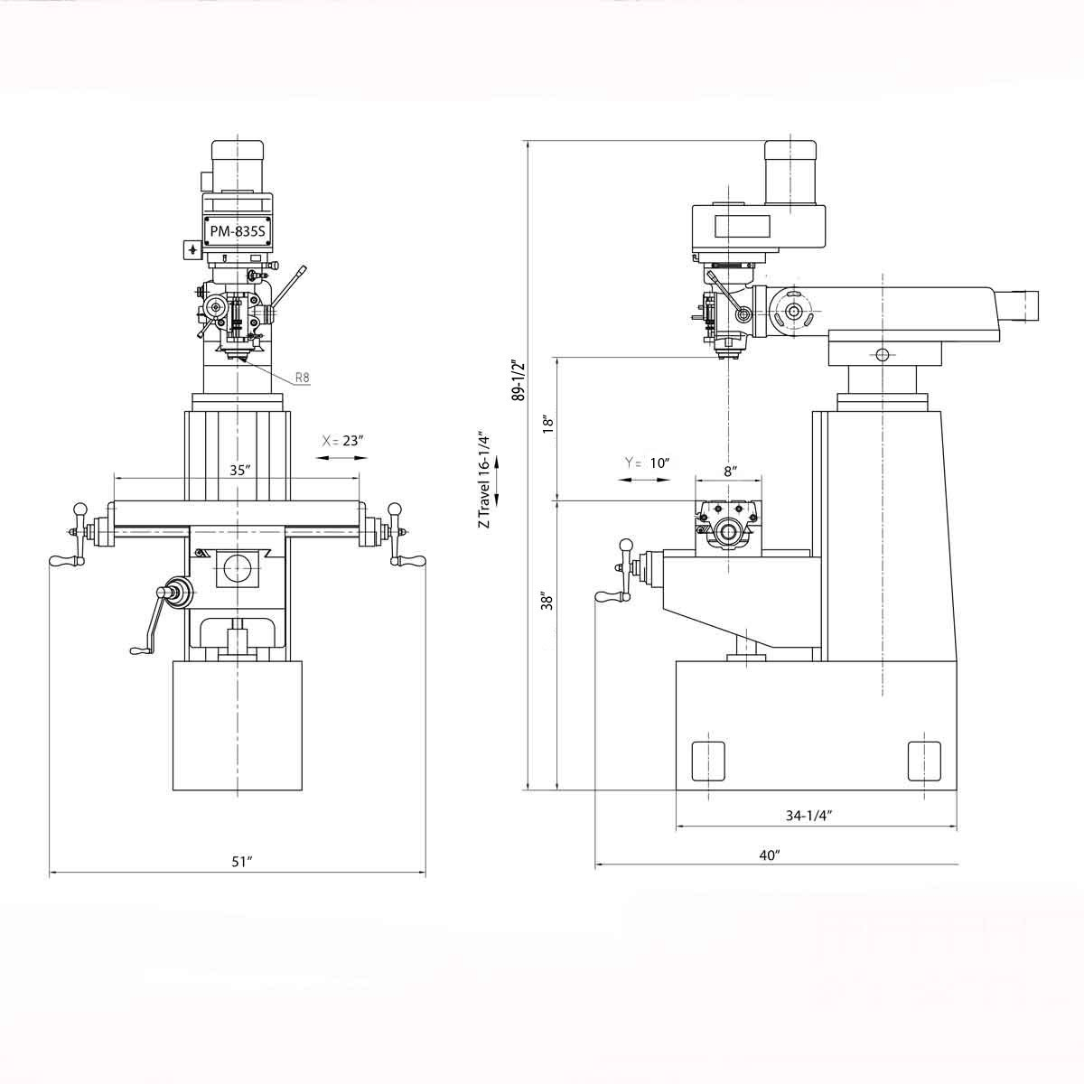 New Pm 835s Milling Machine