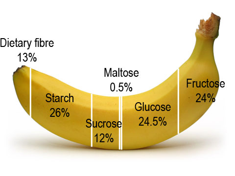 This is what the breakdown of sugars looks like in a banana.