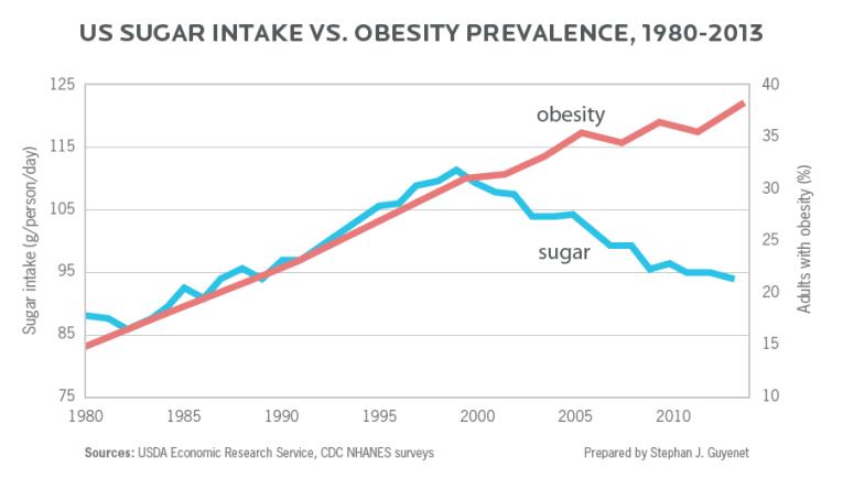 US Sugar Intake vs Obesity Prevalence - 1980-2013