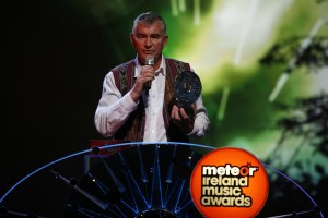 Fr. Shay receiving the Humanitarian Award at the Meteor Awards in 2009