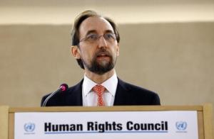United Nations High Commissioner for Human Rights Zeid Ra'ad Al Hussein addresses the 28th Session of the Human Rights Council at the United Nations in Geneva March 2, 2015. REUTERS/Denis Balibouse