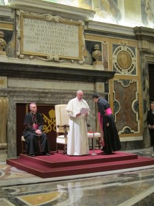 Pope Francis speaks to the delegates in the Clementine Hall.