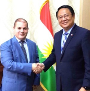 Philippine Embassy Chargè d'Affaires Elmer G. Cato meets with Director General Sami Jalal Hussein, head of the newly created High Committee to Combat Human Trafficking in Erbil, to discuss issues involving Filipino workers in the region. (PHILIPINE EMBASSY/JEROME FRIAZ