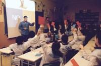 Volunteers from Barcelona ,Spain visit their local elementary school