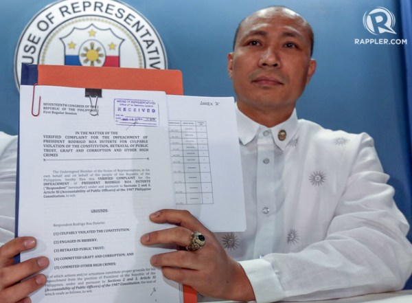 Rep. Gary Alejano of the Magdalo Party-list group announce the filling of Impeachment charges against President Rodrigo Duterte at the House of Representatives in Quezon City on March 16, 2016. Photo by Ben Nabong/Rappler