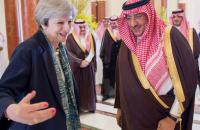 Saudi Arabian Crown Prince Muhammad bin Nayef welcomes British Prime Minister Theresa May in Riyadh, Saudi Arabia Reuters