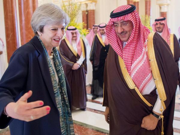 Saudi Arabian Crown Prince Muhammad bin Nayef welcomes British Prime Minister Theresa May in Riyadh, Saudi Arabia Reuters