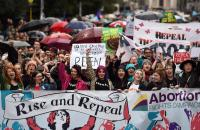 Demonstrators urge the Irish Government to repeal the 8th amendment to the constitution, which enforces strict limitations to a woman's right to an abortion, in Dublin last September Reuters
