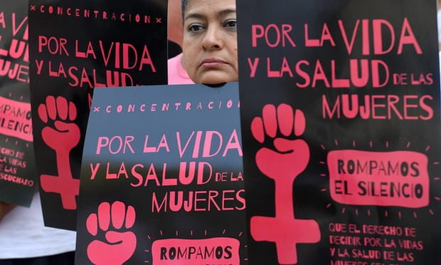 Salvadoran women take part in a demonstration to demand the decriminalisation of abortion in San Salvador on 23 February 2017. Photograph: Marvin Recinos/AFP/Getty Images