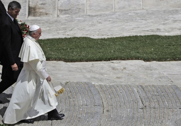 Pope Francis leaves with his butler Sandro Mariotti, at the end of a special mass for Roman holiday of St. Peter and St. Paul in St. Peter's square at the Vatican, Thursday, June 29, 2017. (Gregorio Borgia/Associated Press)