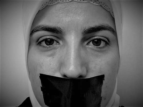 An exhibition on 8 September in Manchester highlights the hardships faced by the Syrian women silenced in jail. Photograph: Rethink Rebuild Society