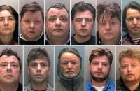 Convicted gang members (top row, L-R): Bridget Rooney, 55, Gerald Rooney, 46, John Rooney, 53, John Rooney, 31, Lawrence Rooney, 47, Martin Rooney, 35; (bottom row, L-R): Martin Rooney Sr, 57, Martin Rooney, 23, Patrick Rooney, 54, Patrick Rooney, 31, and Peter Doran, 36. Photograph: EPA/Lincolnshire police/Handout
