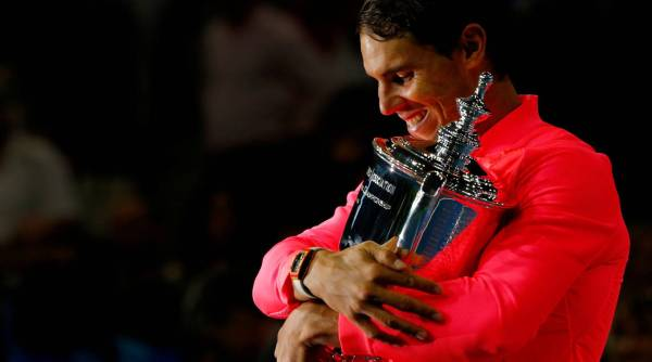 Nadal holds the US Open trophy in New York. ANDREW KELLY REUTERS