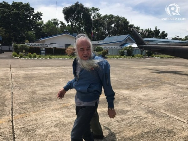 FREED. Marawi City priest Father Teresito 'Chito' Soganub is flown to Manila two days after his rescue. Sourced photo
