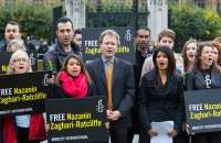 Nazanin Zaghari-Ratcliffe's husband, Richard Ratcliffe, centre, protested last week in Parliament Square against the imprisonment. Photograph: Paul Davey / Barcroft Images