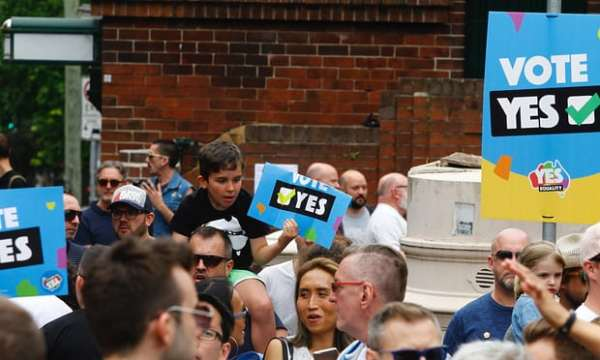 The same-sex postal survey was criticised by a UN committee member: 'Human rights are not to be determined by opinion poll or a popular vote.' Photograph: Danny Casey/AAP