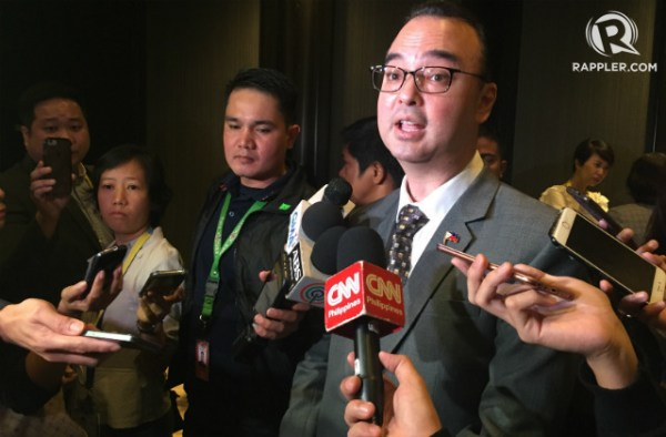 EU GRANTS. Philippine Foreign Secretary Alan Peter Cayetano says the Philippines has decided to reject all kinds of grants from the European Union. Photo by Paterno Esmaquel II/Rappler
