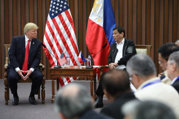 President Rodrigo Roa Duterte and US President Donald Trump discusses matters during a bilateral meeting at the Philippine International Convention Center in Pasay City on November 13, 2017. ROBINSON NIÑAL JR./PRESIDENTIAL PHOTO