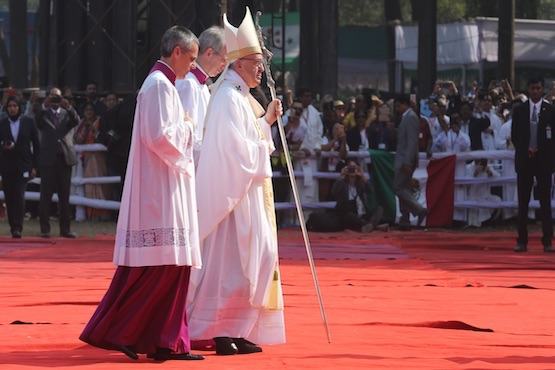 Pope Francis celebrates Mass at a historic park in the central district of Dhaka, capital of Bangladesh, during the second day of his visit in the predominantly Muslim country on Dec. 1. (Photo by Joe Torres)