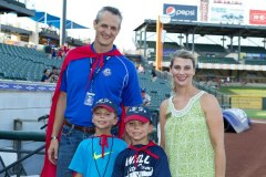 Round Rock Express George King with Kelli Kelley and twins Ikey and Reagon