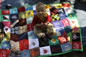 use smaller blankets to create larger quilts for toddler years
