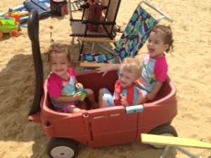 Three preemies at the beach.